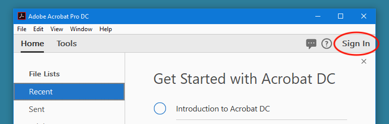 Sign In to Acrobat DC