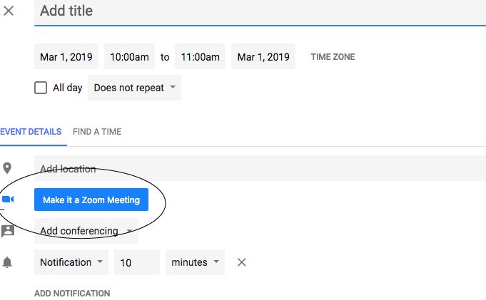Schedule Zoom Meetings within Google Calendar